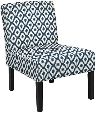 Best Homegear Home Furniture Accent Armless Chair - Contemporary Designs - Blue Diamonds