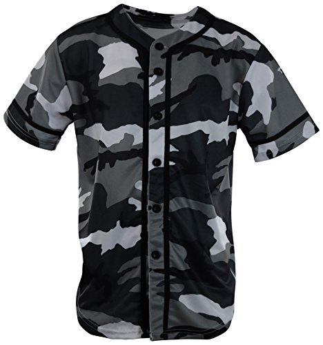 ChoiceApparel Mens Plain Solid Color Baseball Jersey (XL, MF203-White Camo)