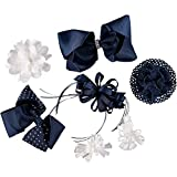 French Toast Kid's School Uniform Bow Hair Accessories, 4-pack, Navy Blue & White, One Size