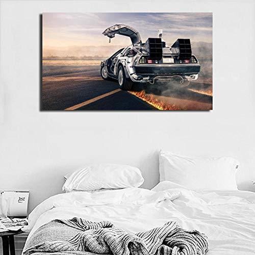 nobrand Zurück in die Zukunft Bauen Sie die Delorean Wandkunst Leinwand Poster Drucke Gemälde Wandbilder-50x75cm ohne Rahmen