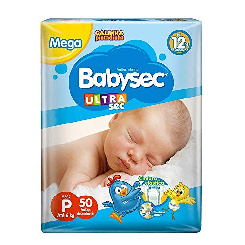 Fraldas descartáveis Babysec Ultrasec Galinha Pintadinha, 50 Unidades, Tamanho P Até 6...