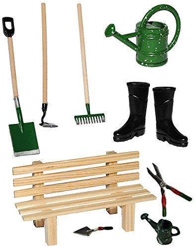 alles-meine.de GmbH 10 TLG. Set: Gartengeräte + Gummistiefel + Gießkanne + Gartenbank - Miniatur - Maßstab 1:12 - für Puppenstube - Puppenhaus - Garten Deko - Klein - Kleingarten..
