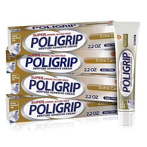 Super Poligrip Extra Care Denture Adhesive Cream, Zinc Free Denture Cream - 2.2 Ounces (Pack of 4)