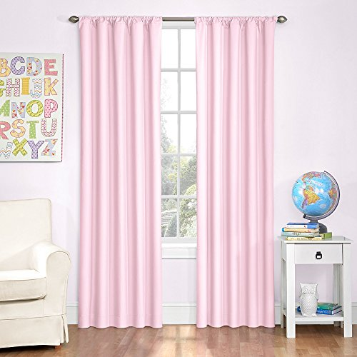 """Eclipse Microfiber Thermal Insulated Single Panel Rod Pocket Room Darkening Privacy Curtains for Nursery, 42"""" x 84"""", Pink"""
