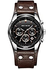 腕時計、メンズ腕時計 ブラウン 本革 クロノグラフ クラシック ファッション 多機能 日付表示 防水 カジュアル アナログ クォーツ レザー時計