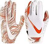 Nike Mens Vapor Jet 5.0 Stretch Lightweight Padding Football Gloves (White/Orange/Small)