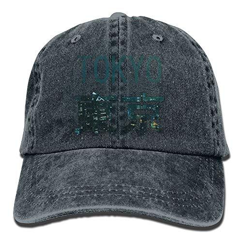 Caps big Ciudad de Tokio Hermosa Tendencia de impresión Sombrero de Vaquero Moda Gorra de béisbol para Hombres y Mujeres Negro