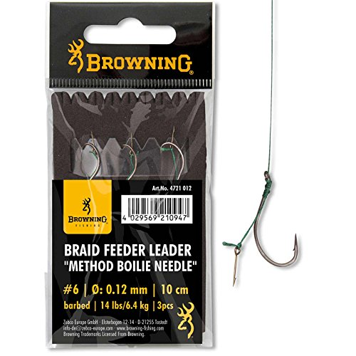Browning #6 Braid Feeder Leader Method Boilie Needle Bronze 6,4kg,14lbs 0,12mm 10cm 3Stück,