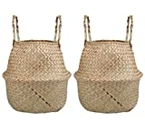 Lawei 2 Piezas Seagrass Cesta de cesteria de Mimbre Plegable Colgante Maceta Cesta de Almacenamiento de Flor Cesta de Lavandería Plegable Trenzada Suciedad - L