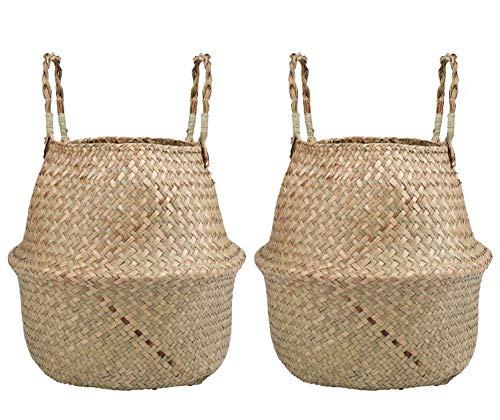 Lawei 2 Piezas Seagrass Cesta de cesteria de Mimbre Plegable Colgante Maceta Cesta de Almacenamiento de Flor Cesta de Lavandería Plegable Trenzada Suciedad - M