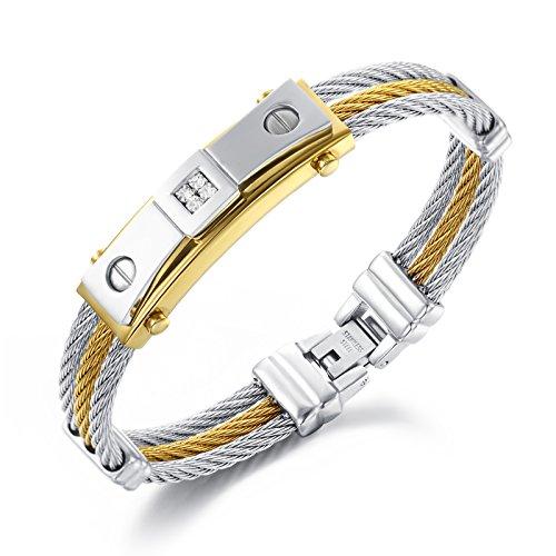 iLove EU Edelstahl Armband Armreif Manschette Zirkonia Gold Silber Drahtseil Schrauben Prägung Motorradfahrer Biker Herren