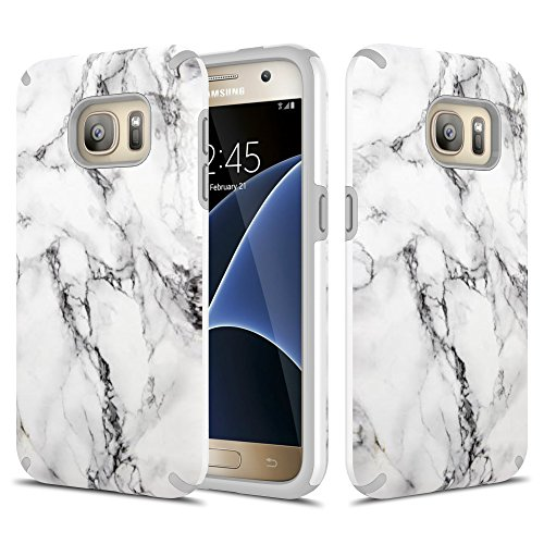 Townshop Galaxy S7 Case, Marble Design Hard Rubber Impact Dual Layer Shockproof Silicone Bumper Case for Samsung Galaxy S7