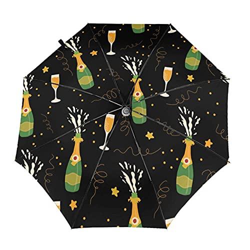 Donono Paraguas automático de tres pliegues 3d Champagne botellas y gafas a prueba de viento protección UV paraguas de lluvia dentro de impresión para uso diario