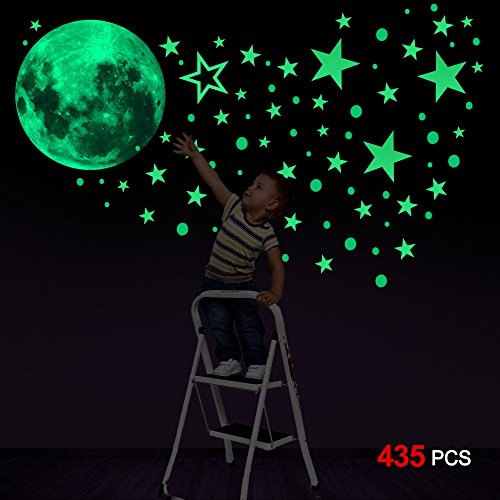 Konsait Luminoso Pegatinas de Pared, 435pcs Puntos Luna y Es