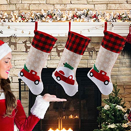 LessMo 3 Pack Christmas Stockings, Large Xmas Fireplace Hanging Stockings with Santa Snowman Reindeer, for Kids Gift Family Holiday Christmas Party Decorations Tree Decoration