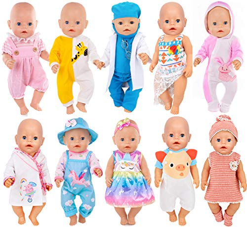 iBayda 10 Sets Doll Clothes Include Dress, Bikini, Rompers, Doctor Outfit, Night-Robe, Headband and Hat for 43cm New Born Baby Dolls