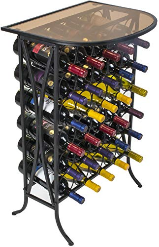 Sorbus Wine Rack Stand Bordeaux Chateau Style with Glass...