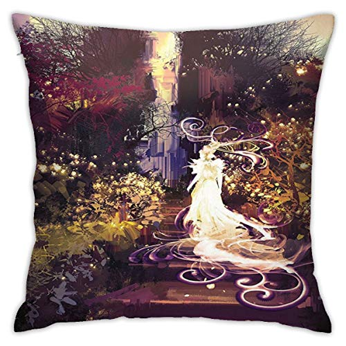 Pillow 18inch*18inch Fantasy Art House Decor Surreal Silhouette of Elf Lady Goddess On Stair In Dreamy Garden Magenta Green Pillow,Pillowcase Decorative Square Sofa Bedroom Car - No Inserts Included