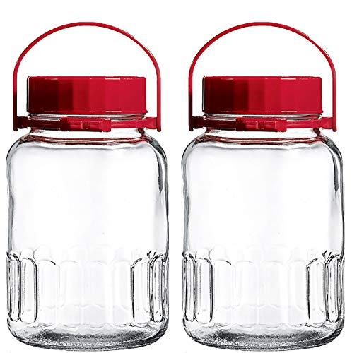 1 Gallon Glass Jar With Lid Wide Mouth Airtight Plastic Pour Spout Lids Bulk-Dry Food Storage Pickling Mason Jar Canister Milk Bottle Jug Fermenting Sun Tea Kombucha Kefir Water Storing Canning BPA Free & Dishwasher Safe 2 Pack