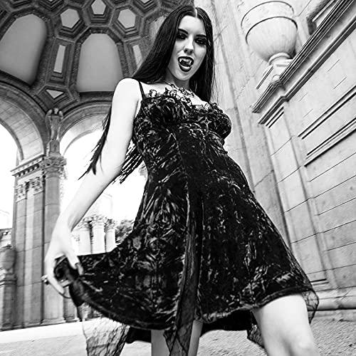 Vestidos de Mujer Vestido Gótico Sexy Encaje Rojo Mini Vestido Dark High Cintura Slit Vestido Noble Velvet Vestidos De Fiesta Vestido de Novia Zzib (Color : Schwarz, Size : M)
