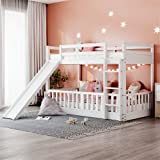 Kids Low Bunk Bed with Slide, Twin Over Twin Wood Bunk Bed for Toddlers Boys Girls, Teens or Dorm (White)
