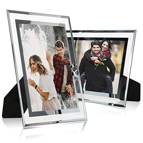 8x10 Glass Picture Frame,Silver Mirrored for Photo Display Stand on Tabletop,Pack of 2 By Cq acrylic
