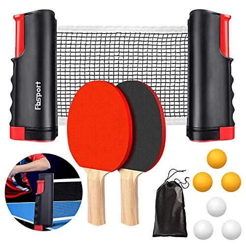 FBSPORT Sets de Ping Pong, Palas Ping Pong Set Professionales con 1 Red Retráctil, 2 Raquetas, 6 Pelotas, 1 Bolsa para...