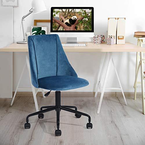 Yata Home - Silla de oficina ergonómica de tela aterciopelada de metal negro, altura ajustable giratoria 360 grados (azul)