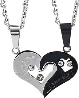 Couple Heart Shaped Necklace Pendant