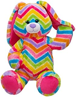Build a Bear Stripes-A-Lot Colorful Rainbow Zig Zag Bunny Rabbit 16 in. Stuffed Plush Toy Animal