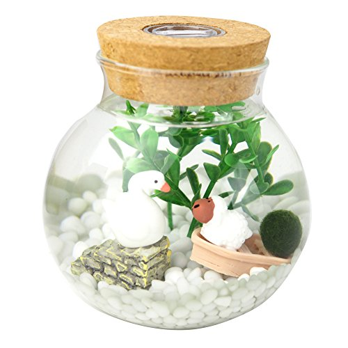 OMEM Aquarium Set - Lifestyle moss balls, seaweed, gravel, doll, boat workbench decoration Valentine gift (1 year old with lights, Small mo)