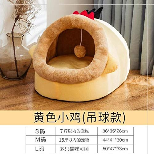 Klein huis kan uitneembare en wasbare gevulde puppy hond kooi mat mooi zijn. Dog kennel warm winter winter T S code [7 pond collectie aan kussens sturen beschikbaar] geel kuiken