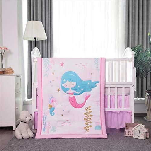 La Premura - Juego de cama de cuna para bebé, diseño de sirena y caballito de mar, 3 piezas, tamaño estándar, color rosa, blanco y verde