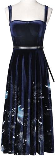 FXFAN Mme Robe de Soirée Robe Imprimée Robe de Soirée Robe de Velours Sexy