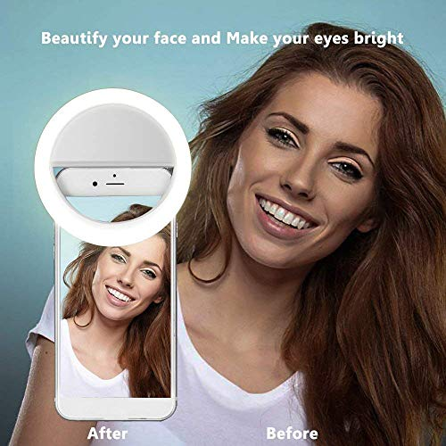 Selfie Ring Light,Yihongda Clip On Selfie Ring Light for Phone Camera USB Rechargeable LED Selfie Light Phone Light Selfie Ring for iPhone,iPad,Sumsung Galaxy,Sony, Motorola,Any Smart Phones,Video