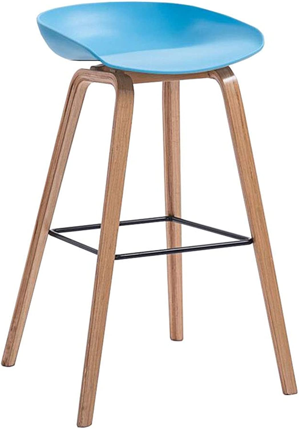 Dall Bar Stool PP Seat Wooden Legs High Chair Kitchen Breakfast Bar Pub Counter Cafe Sitting Height 74cm (color   bluee1)