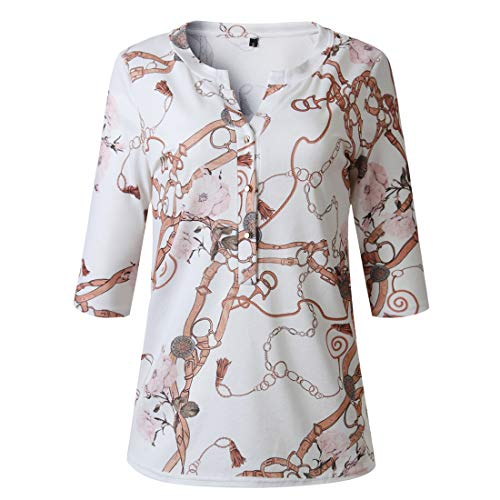 Camicie a Maniche Lunghe da Donna Camicette Autunno Inverno da Donna Motivo Stampato alla Moda con Colletto a Bottoni Camicie a Maniche Lunghe 3/4 2020 Nuovi Stili Autunno e Inverno S