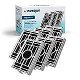 Wessper - Paquete de 6 -Filtro antibacteriano para el frigorífico Whirlpool, Indesit, KitchenAid, Hotpoint - compatible con el sistema aire sano Microban ANT001, ANT-001, ANTF-MIC, 481248048172