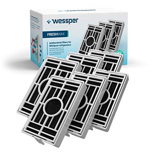 Wessper - Paquete de 6 -Filtro antibacteriano para el frigorífico Whirlpool, Indesit,...