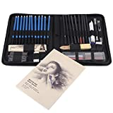 Sketch Pencils, 48PCS Professional Sketching Drawing Pencils Kit Carry Bag Art Painting Tool Set Student Black, Ecológico, No tóxico