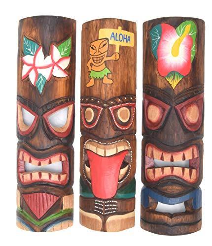 3 Tiki Masken 50cm im Hawaii Style 3er Set Holzmaske Wandmaske Blumen Aloha Zunge