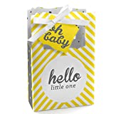 Hello Little One - Yellow and Gray - Neutral Baby Shower Party Favor Boxes - Set of 12