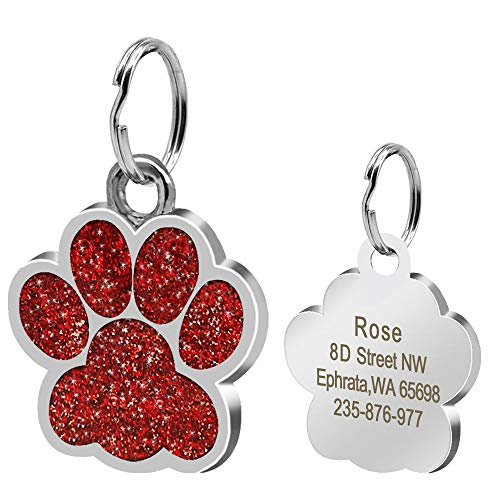 Didog Large Glitter Paw Print Custom Pet ID Tags for Medium Large Dogs and Cats,Personalized Engraving,Red