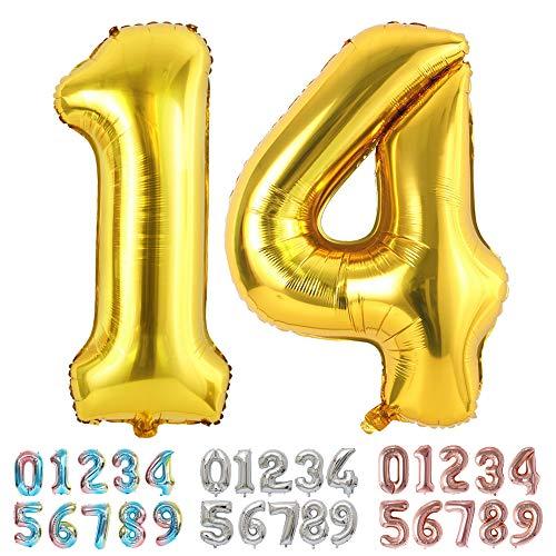 Ponmoo Foil Globo Número 14 41 Dorado, Gigante Numeros 0 1 2 3 4 5 6 7 8 9 10-19 20-29 30 40 50 60 70 80 90 100, Grande Globos para La Boda Aniversario, Globo de Cumpleaños Fiesta Decoración