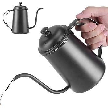 Hervidor de Agua de Acero Inoxidable Hervidor de Café con Cuello de Cisne Hervidor de Agua Caliente Hervidor de Té Olla de Goteo de Elaboración Casera, 650 ml(Negro)