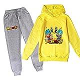 ZKDT Sudadera unisex con capucha y diseño de dragón y balón de fútbol para niñas y niños, de manga larga y pantalón de chándal 3 a 14 Diseño 1 140 cm