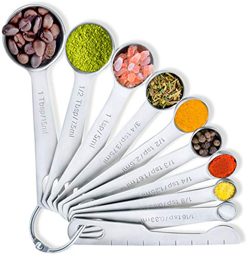 Balci - Measuring Spoons 188 Stainless Steel Set of 10 for Dry and Liquid Ingredients