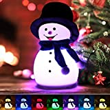 Cute Snowman Night Light, Christmas Birthday Gifts for Women Girls Teen Baby, Silicone Night Light for Kids Bedroom, Portable Nightlight Baby Nursery Lamps with Music and 7 Colors Change