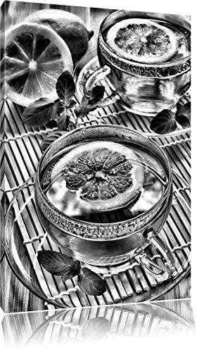 Groene thee met citroenFoto Canvas   Maat: 60x40 cm   Wanddecoraties   Kunstdruk   Volledig gemonteerd