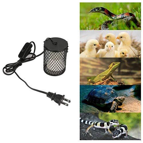 Heat Lamp for Reptile 100W Infrared Ceramic Heat Emitter White Reptile Emitter Bulb Heater Lamp for Chicken Lizard Pet Brooder Coop Aquarium(Black)